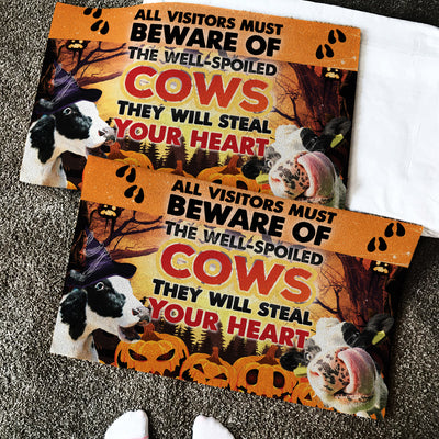 The Well-Spoiled Cows Will Steal Your Heart Halloween Doormat