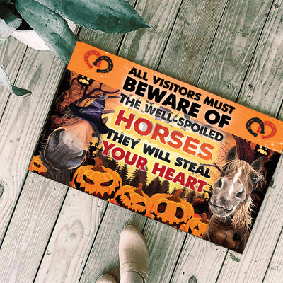 The Well-Spoiled Horses Will Steal Your Heart Halloween Doormat