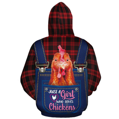 Just A Girl Who Loves Chickens Jean Pattern All-over Hoodie