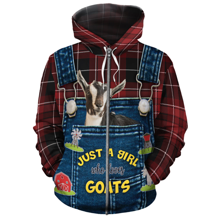 Just A Girl Who Loves Goats Jean Pattern All-over Hoodie