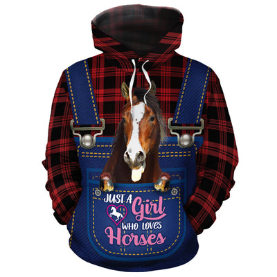 Just A Girl Who Loves Horses Jean Pattern All-over Hoodie
