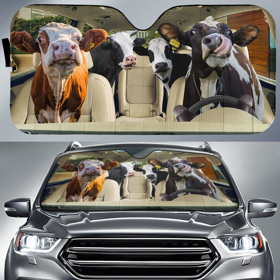 Dairy Cows Auto Sun Shade & Car Seat Covers Set 1