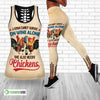 A Woman Cannot Survive On Wine Alone, She Also Needs Chickens Hollow Tank Top And Legging Set