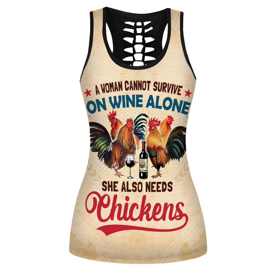 A Woman Cannot Survive On Wine Alone, She Also Needs Chickens Hollow Tank Top