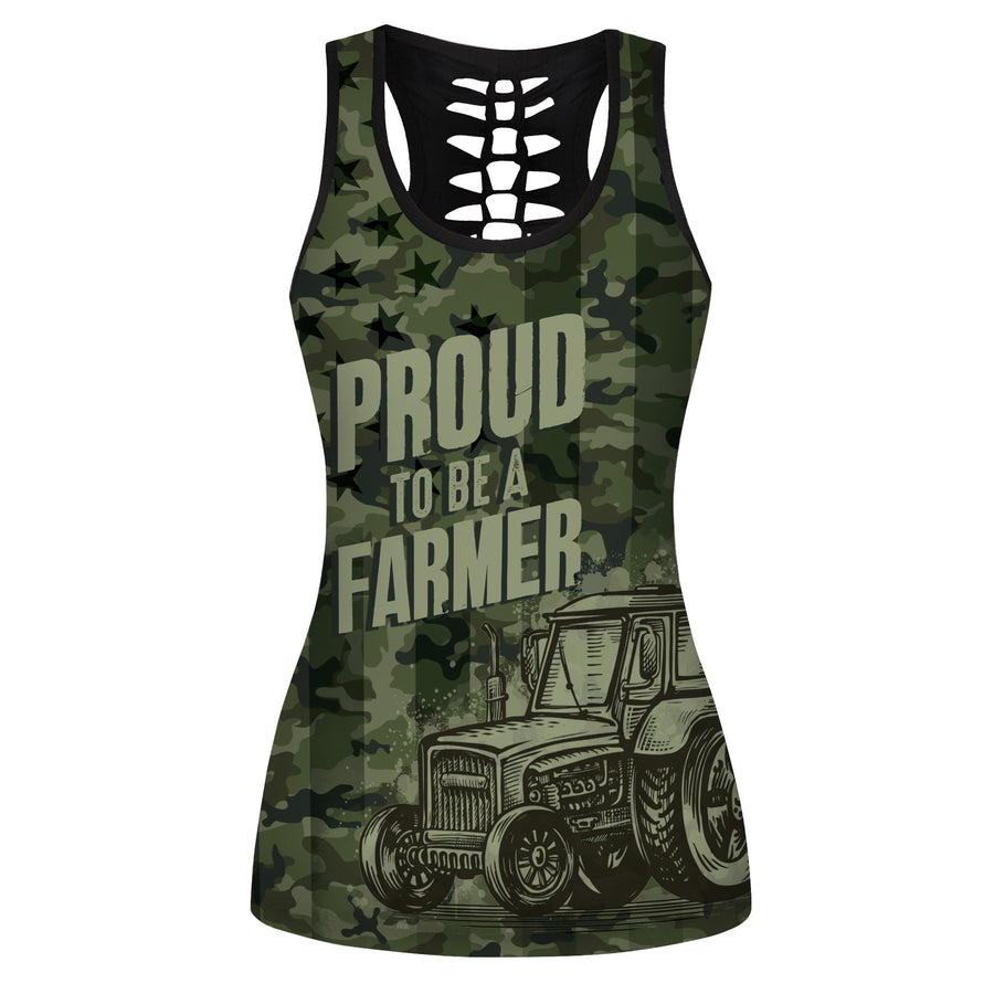 American Camo Farmer Hollow Tank Top And Legging Set