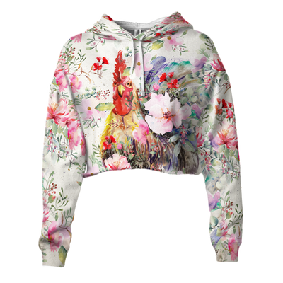 Colorful Chicken Cropped Hoodie And Leggings Set