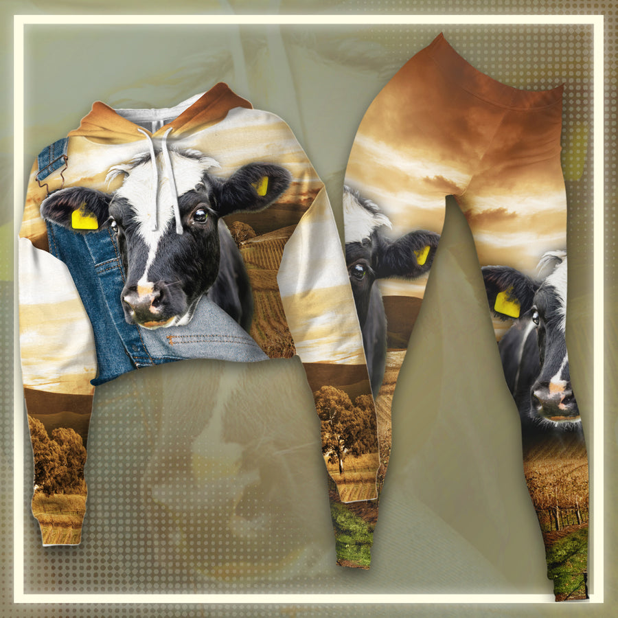 Farming Dairy Cow Cropped Hoodie And Legging Set