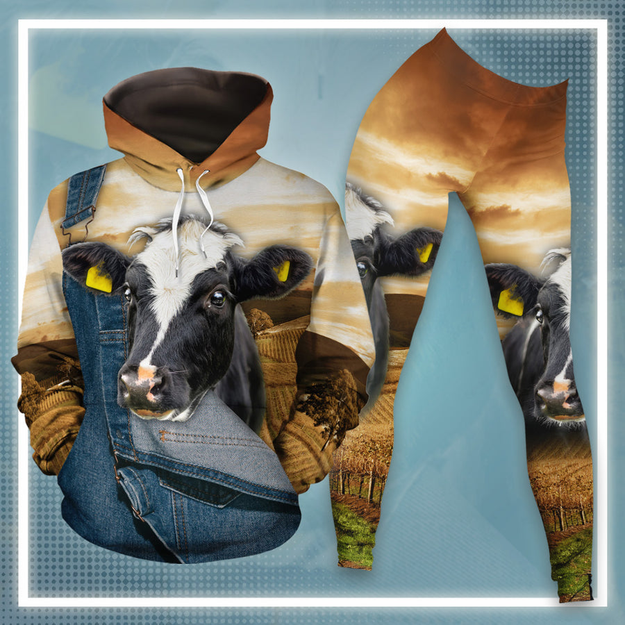 Farming Dairy Cow All-over Hoodie And Leggings Set