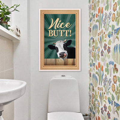 Vintage Funny Dairy Cow Nice Butt Portrait Poster