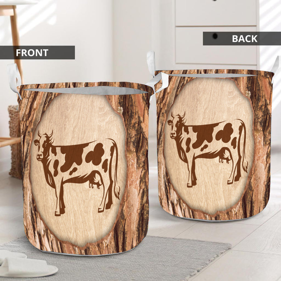 Cow Wood Patterns Laundry Basket