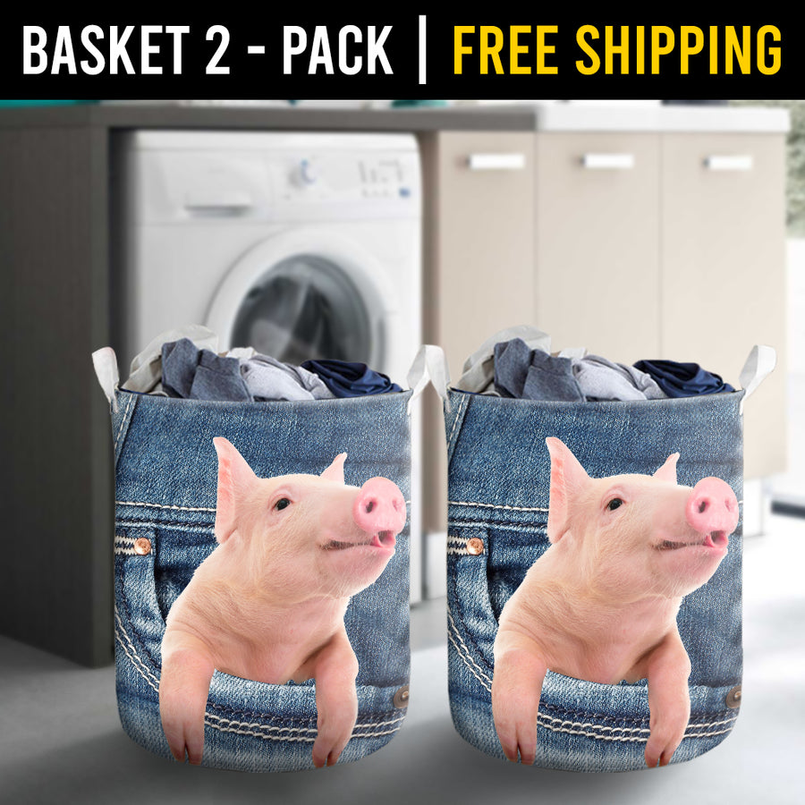 Pig Jeans Pattern Laundry Basket
