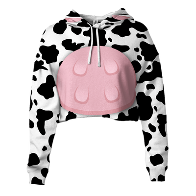 Cute Body Cow Cropped Hoodie