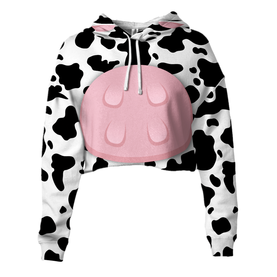 Cute Body Cow Cropped Hoodie And Leggings Set
