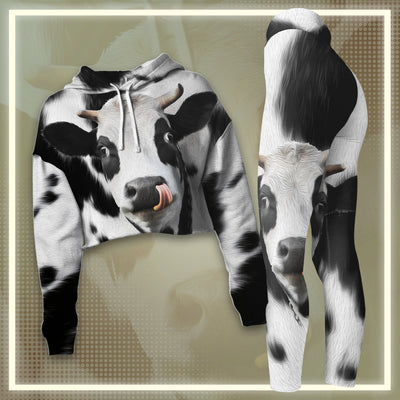 Cute Face Dairy Cow Cropped Hoodie And Leggings Set