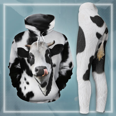 Cute Dairy Cow With Tail All-over Hoodie And Leggings Set