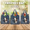 Dairy Cow Jeans Pattern Grocery Bag 3-Pack