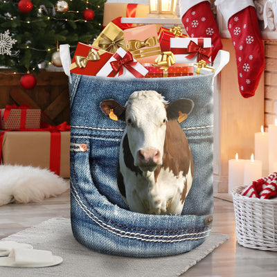 Dairy Cow Jeans Pattern Laundry Basket