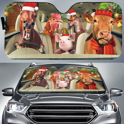 Xmas Driving Farm Animals Right Hand Drive Version Auto Sun Shade