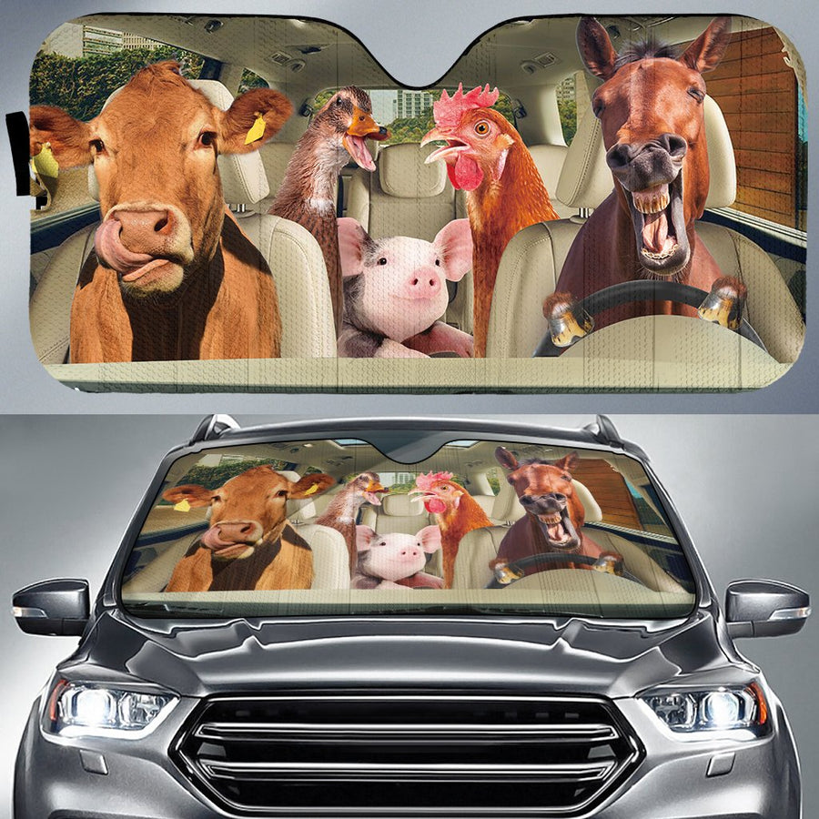 Dairy Cows Auto Sun Shade & Car Seat Covers Set 4