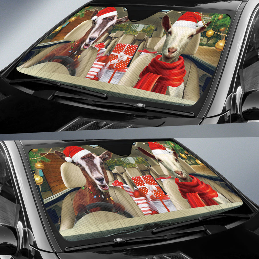 Xmas Driving Goats Right Hand Drive Version Auto Sun Shade