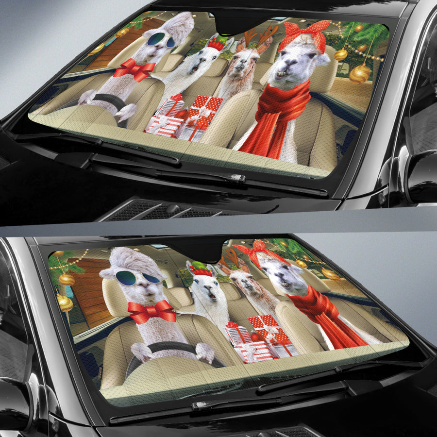 Xmas Driving Llamas Right Hand Drive Version Auto Sun Shade