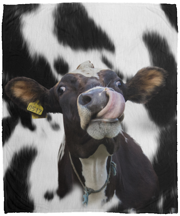 Funny Face Dairy Cow -  Cozy Plush Fleece Blanket - 50x60