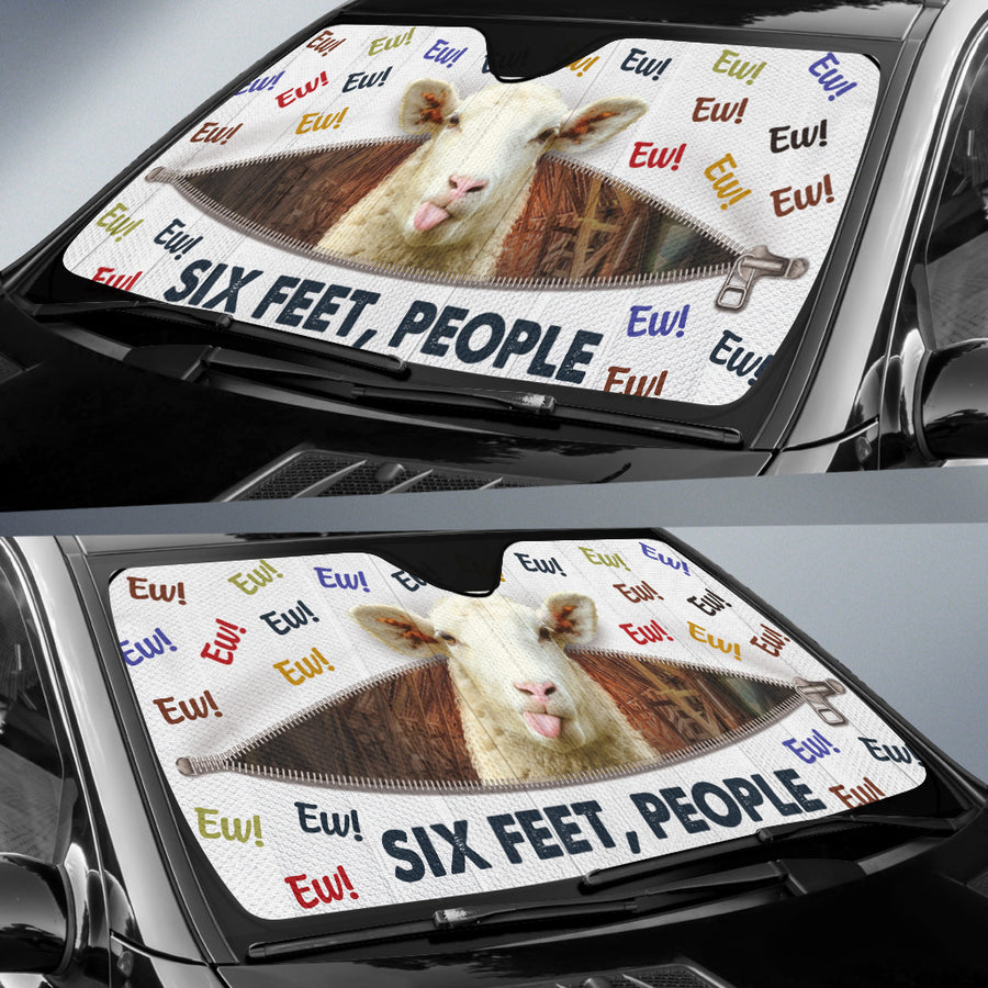 Ew! Six Feet, People - Sheep Auto Sun Shade