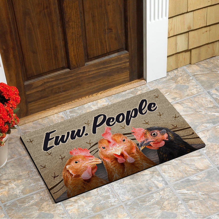 Chickens Eww People 2 Doormat