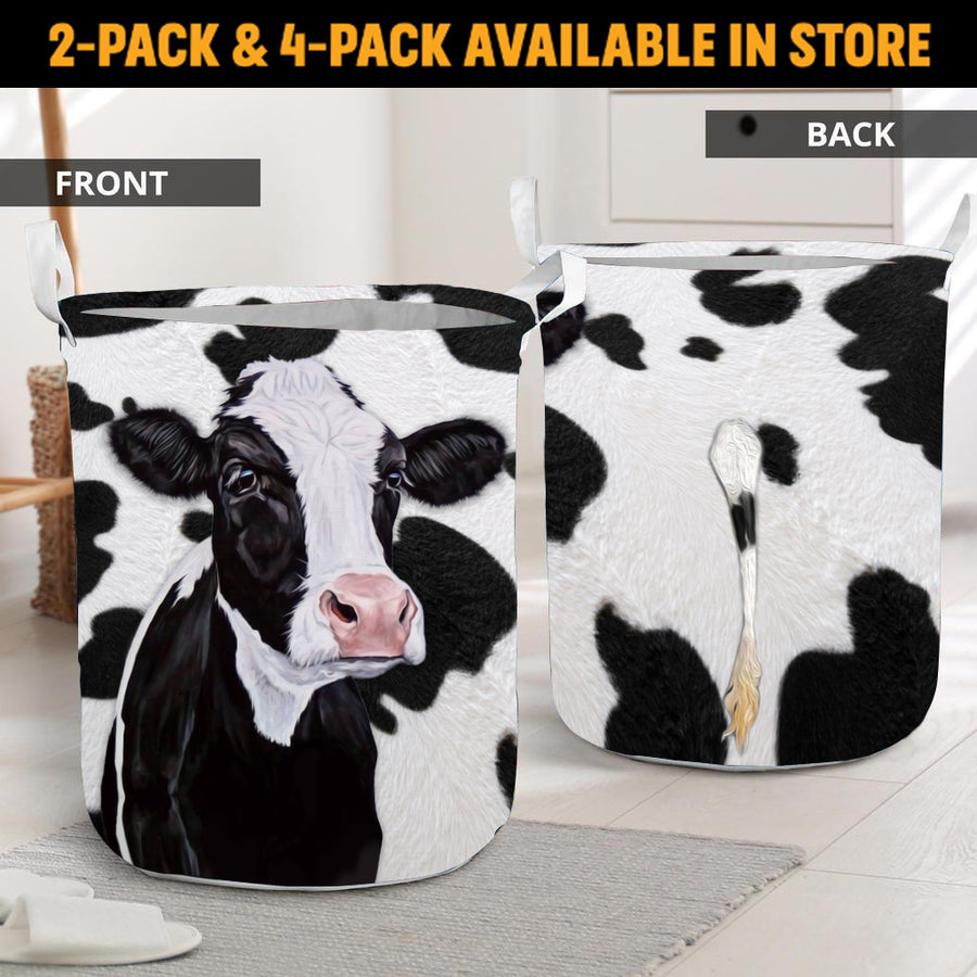 Adorable Face Dairy Cow With Tail Laundry Basket