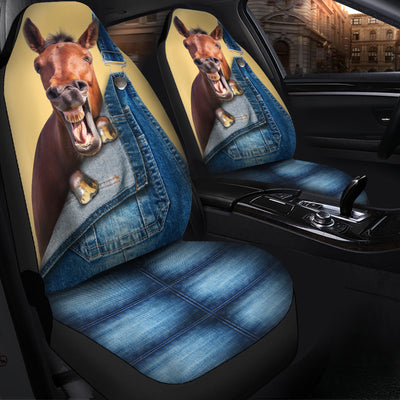 Horse Jeans Pattern Car Seat Covers