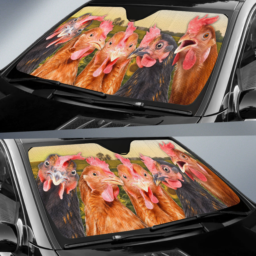 Chickens On The Field Auto Sun Shade