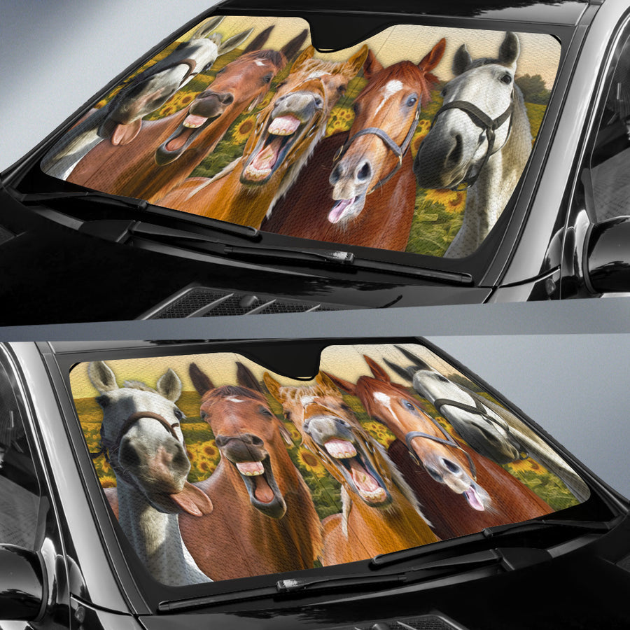 Horses On The Field Auto Sun Shade
