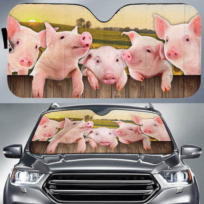 Pigs On The Field Auto Sun Shade