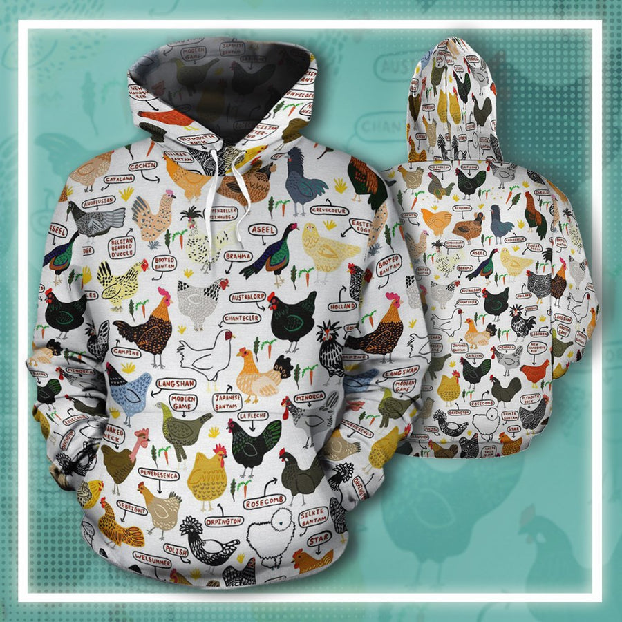 Chicken Breeds All-over Hoodie And Leggings Set