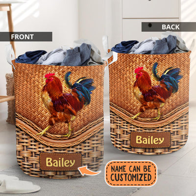 Personalized Chicken Rattan Laundry Basket