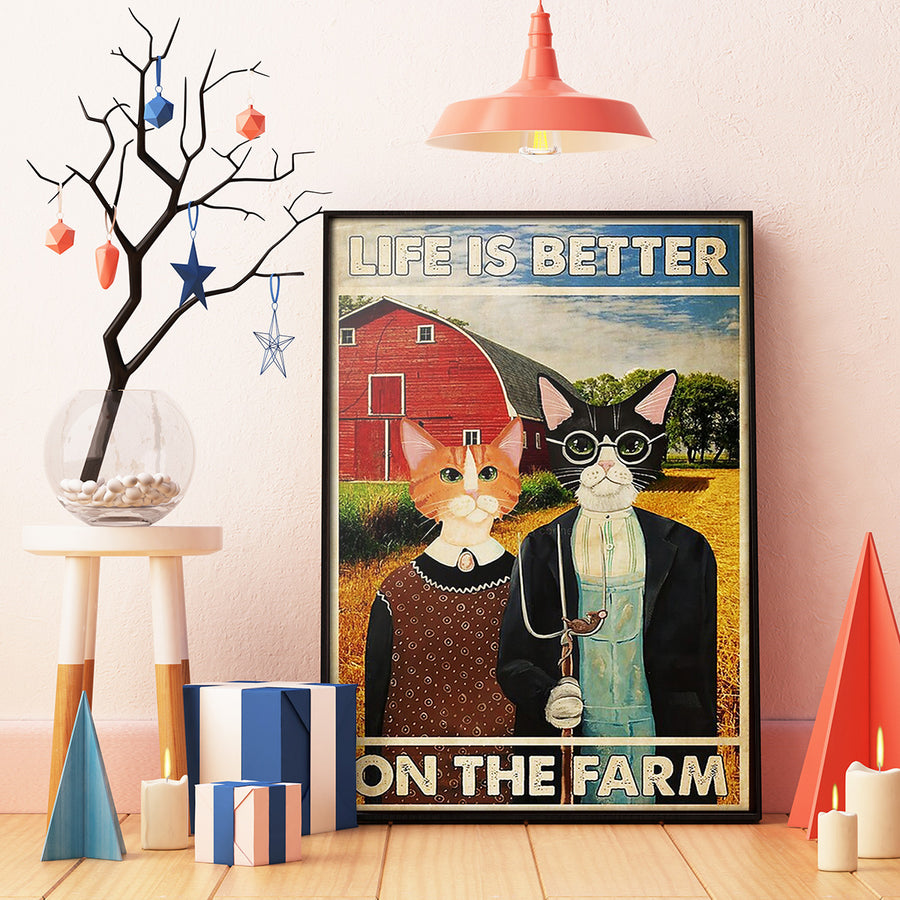 Couple Cat Life is Better on the Farm Cats Portrait Poster