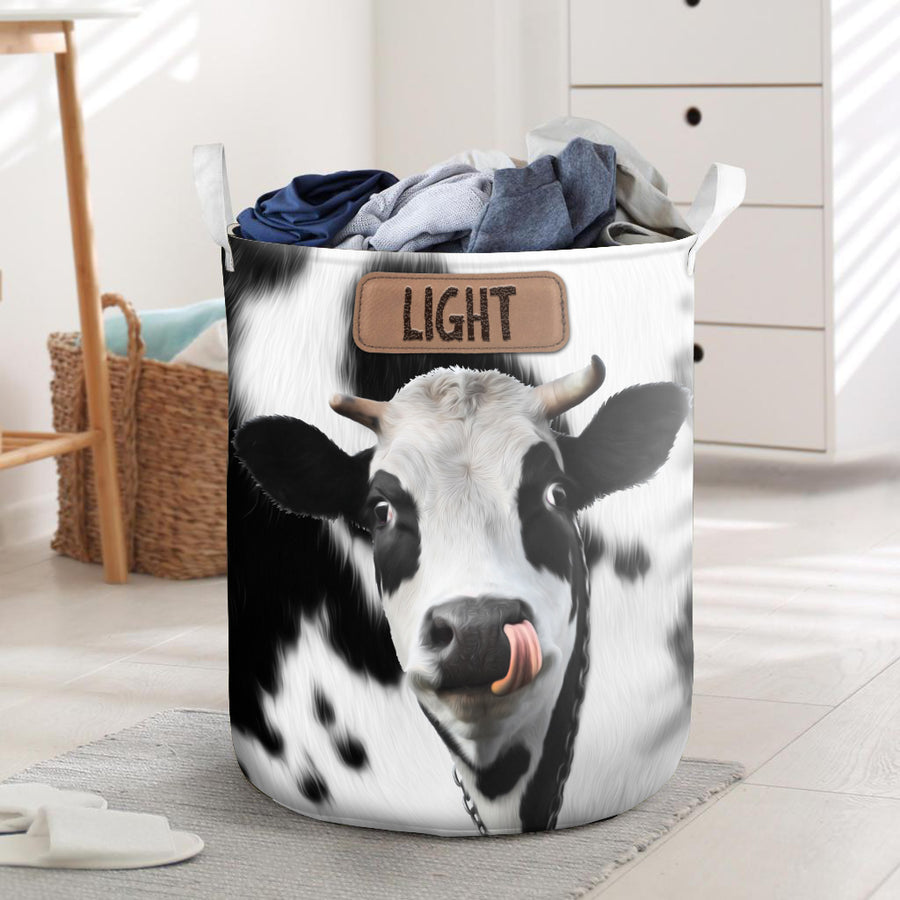 Light Dark Dairy Cow Laundry Basket