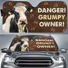 Danger Grumpy Owner - Dairy Cow Auto Sun Shade