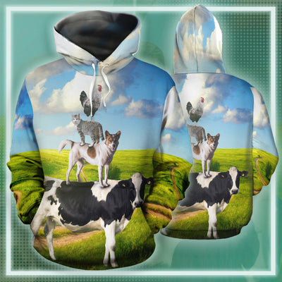Farm Cow Dog Cat Rooster 2 All-over Hoodie