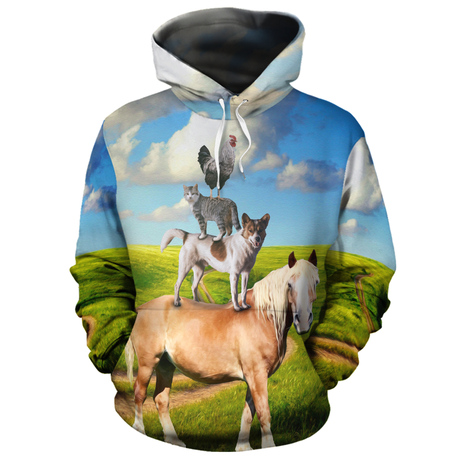 Farm Horse Dog Cat Rooster 2 All-over Hoodie