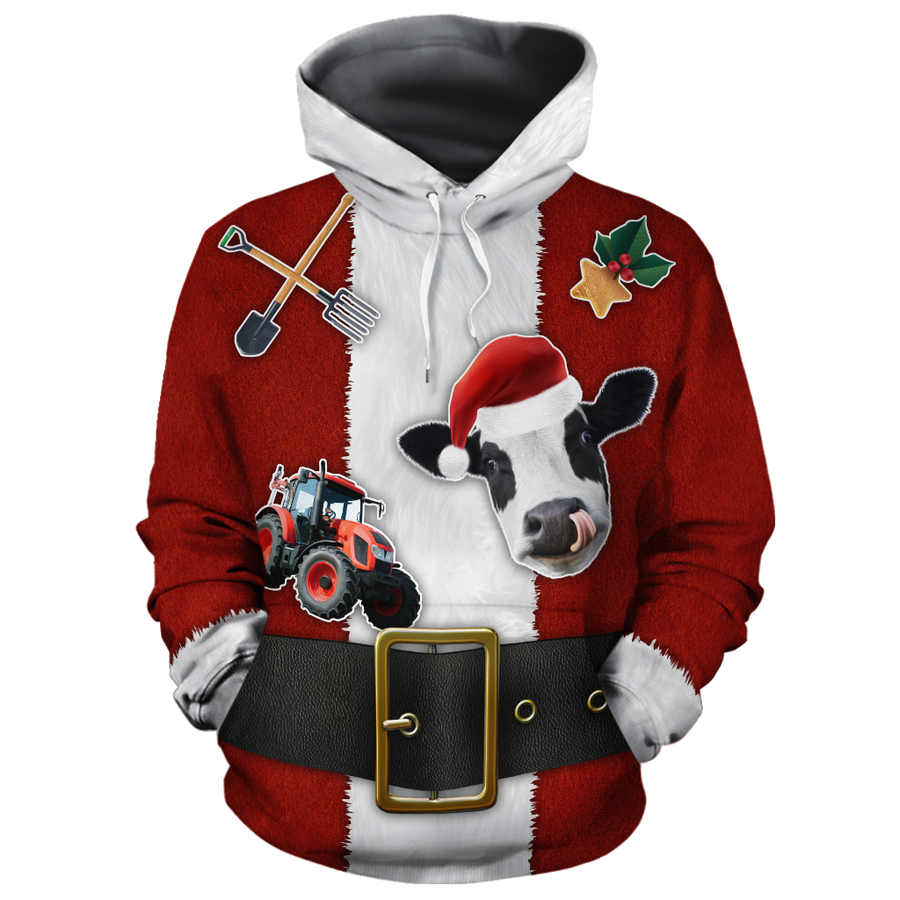 Farmer Santa Clause & Dairy Cow All-over Hoodie