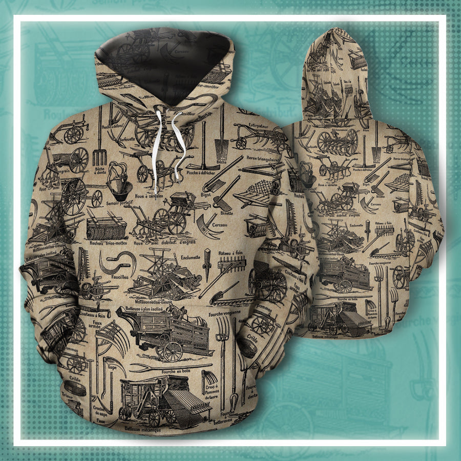 Farmer Tools Vintage Newsprint All-over Hoodie