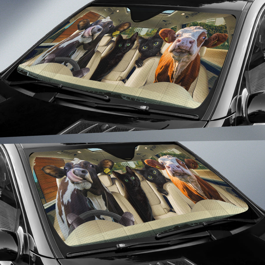 Funny Dairy Cows With Black Cats Auto Sun Shade