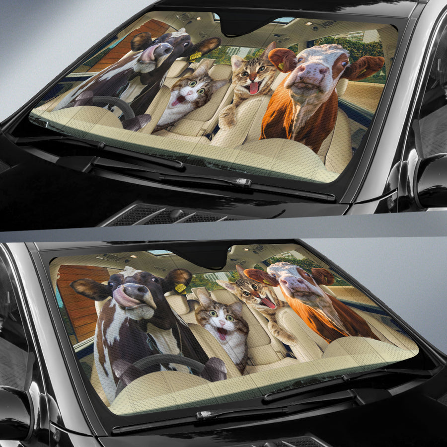 Funny Dairy Cows With Normal Cats Auto Sun Shade