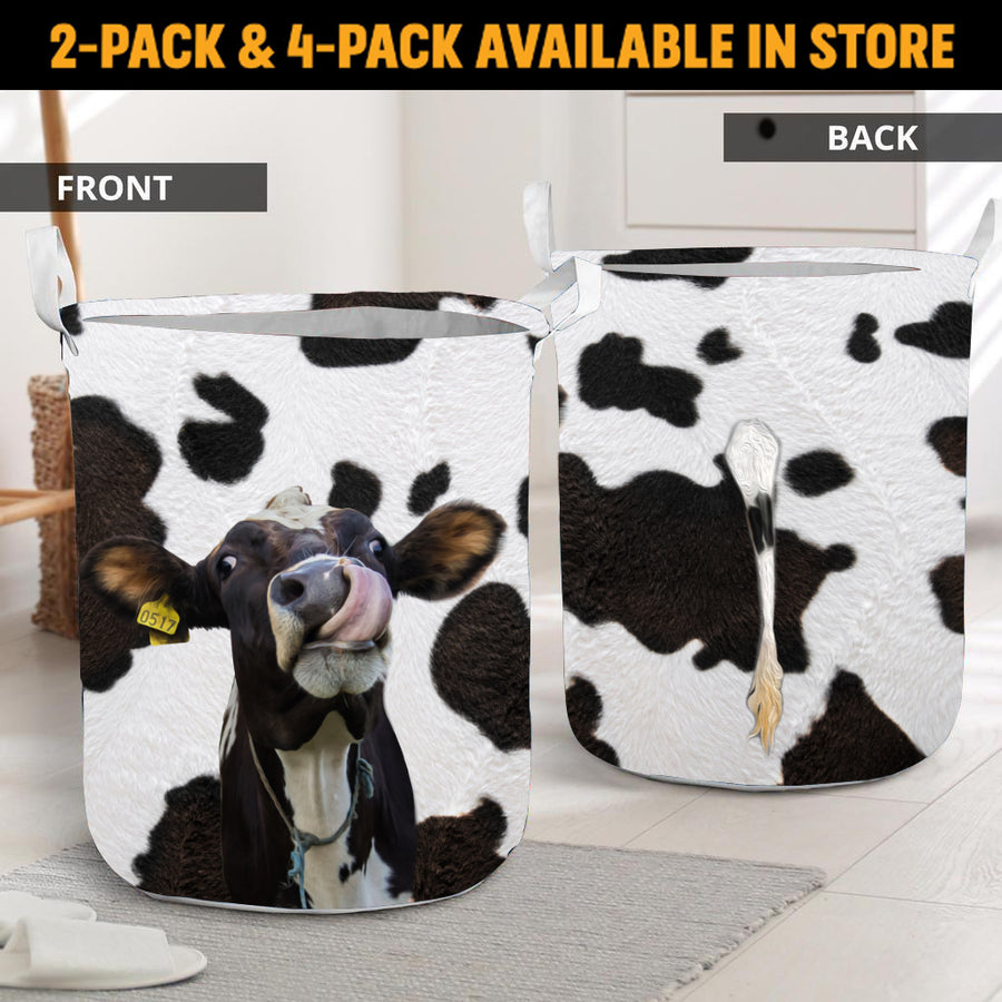 Funny Face Dairy Cow With Tail Laundry Basket