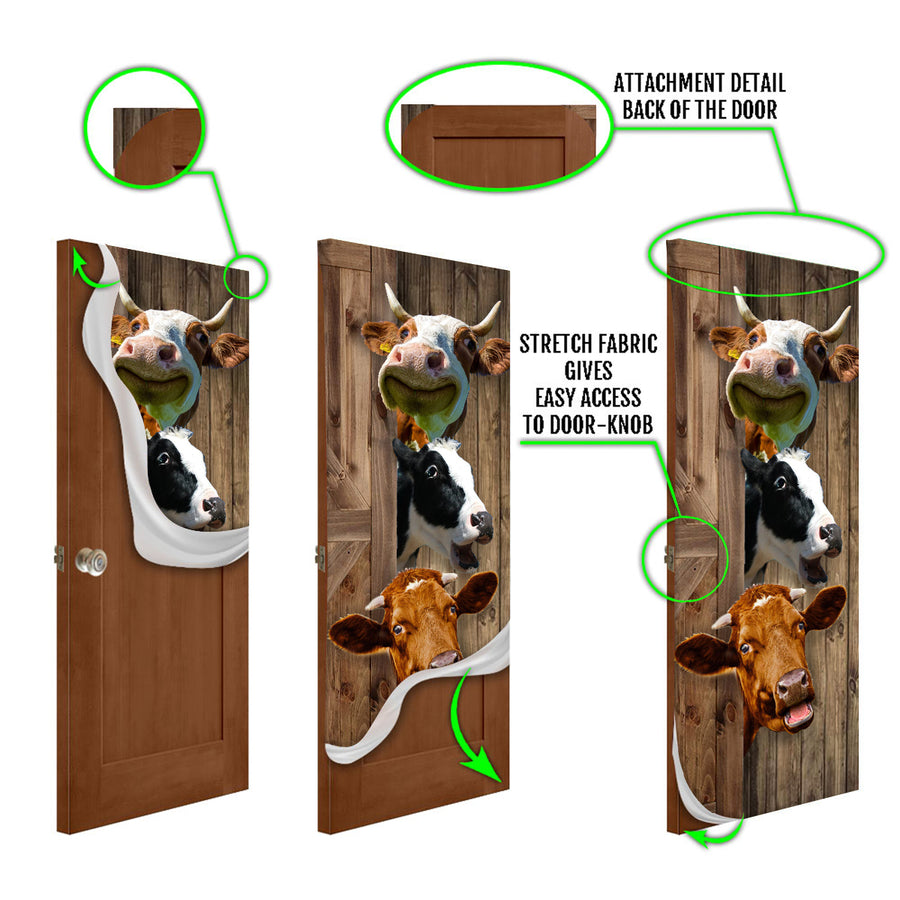 Cute Dairy Cows Door Cover