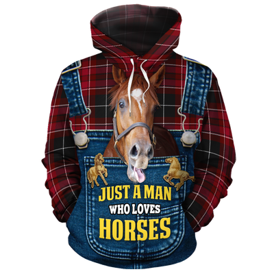 Just A Man Who Loves Horses Christmas 1 All-over Hoodie