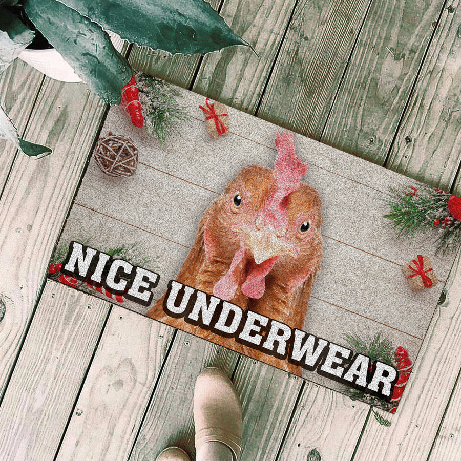 Nice Underwear Christmas Doormat - Chicken