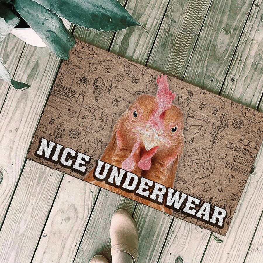 Nice Underwear Christmas Doormat - Chicken 2
