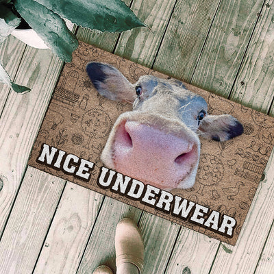 Nice Underwear Christmas Doormat - Cow 2